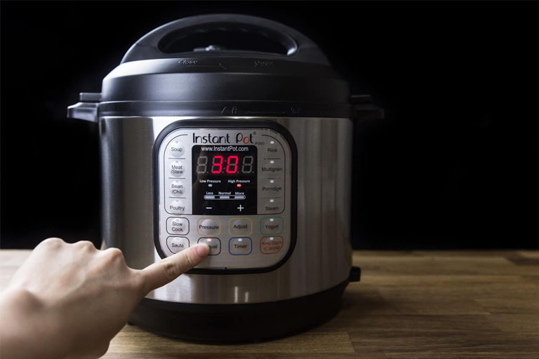 clicking on instant pot buttons