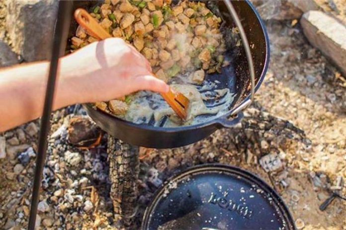 Lodge Dutch Oven with food being cooked