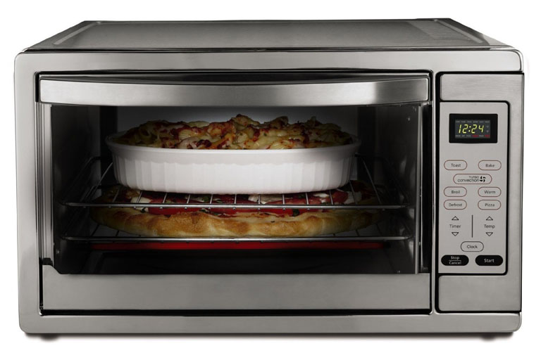oster toaster oven with casserole inside